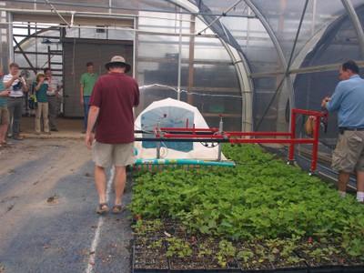 Mechanical stem cutting collector beginning a pass over hydrangea stock plants.