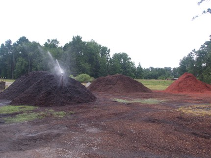 Irrigating substrate piles to keep its wetting ability consistent while waiting to be used in potting