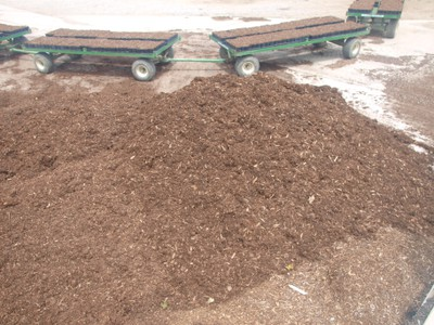 Raw (unmixed) pine bark supply with mixed substrate in background containers