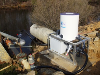 Mobile Accutab chlorintation system for use with pond water and overhead irrigation