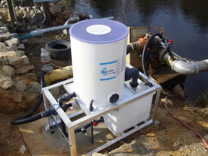 Mobile Accutab chlorintation system used for overhead irrigation