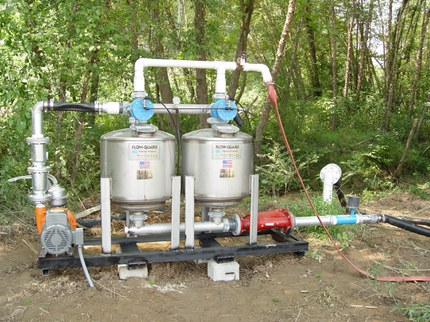 Drip irrigation mobile sand filter rig