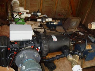 Sediment filter and chlorinator on high volume overhead irrigation system